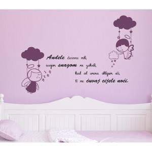 MagisWall zidna naljepnica Andeli citat ljubicasta