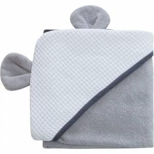 Bubaba rucnik s kapuljacom s usima 100x100 cm sivi