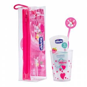 Chicco set za oralnu higijenu u torbici rozi